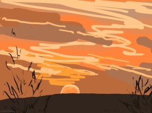 Danny Mooney 'Sunrise, Scarborough #5, 18/12/2015' iPad painting #APAD