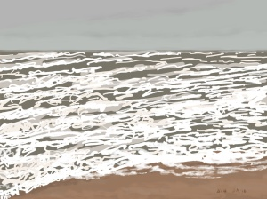 Danny Mooney 'Brown sea, white waves, 2/1/2016' iPad painting #APAD