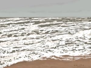 Danny Mooney 'Brown sea, white waves, 2/1/2016' iPad painting #APAD