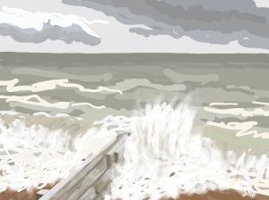 Danny Mooney 'High tide, 9/1/2016' iPad painting #APAD