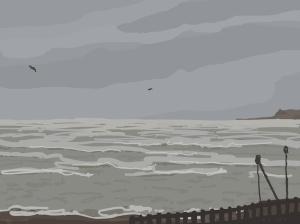 Danny Mooney 'Storm and gulls, 3/1/2016' iPad painting #APAD